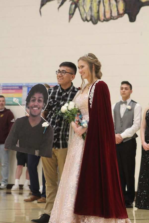 Seniors DeVontai Robinson and Moriah DeBey won Indian Call King and Queen. Senior Derrick Aragon stood in for Robinson because he was at regional wrestling competition.