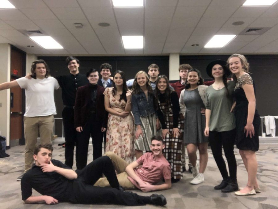 The Chamber Singers pose for a photo before their second night of performances. This is the second year of the Cabaret for the Chamber Singers, on the evenings of Feb. 14 and 15.