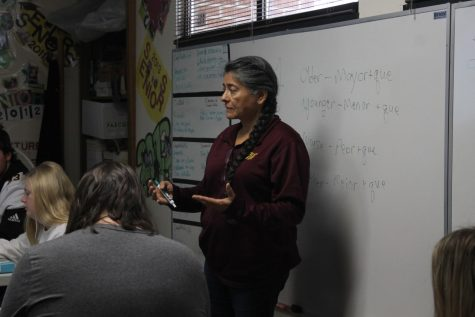 Spanish I-IV teacher Lora Haynes teaches a spanish II class before school was cancelled for the remainder of the semester.