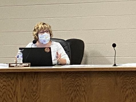 Board member Tammy Wellbrock speaks during the special Board of Education meeting on July 30. The Board unanimously approved an Aug. 26 start date for the 2020-2021 school year.