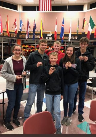Scholars Bowl members pose with their first place medals after the Colby Invitational meet on Dec. 9, 2019. Meets this year will mostly be held online due to COVID concerns.