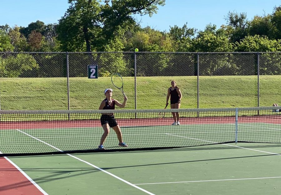 Seniors Taylor Deines and McKena McBride played #1 doubles and tied for second.