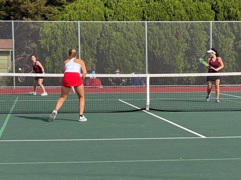 Senior McKena McBride and junior Brittnee Leiker played #2 doubles at the meet.