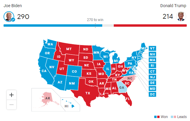 This is the electoral map for the 2020 presidential election so far. Joe Biden is the projected winner with 290 electoral votes as of now.