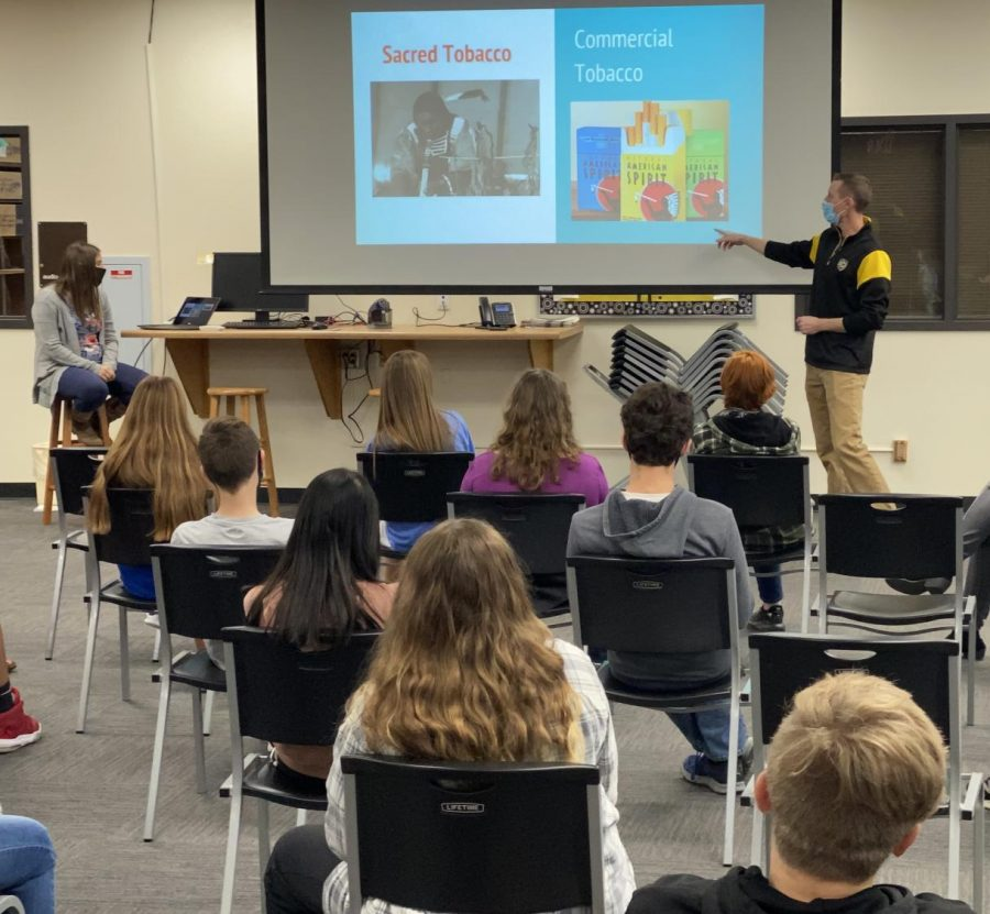 The representatives from the Smoky Hill Foundation for Chemical Dependency kick off their presentation on tobacco and vaping products by explaining different types of advertising used in the tobacco industry. The presentations took place on Nov. 11 and 18 in the library for the freshman health classes, taught by Haley Wolf.