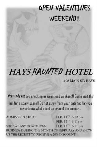 A flyer from the Hays Haunted Hotel detailing its Valentine activity.