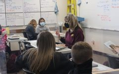 English Teacher Liza Renz teaching a class of freshmen.