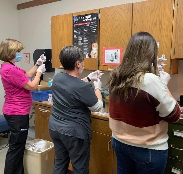 Teachers at Hays High received the Moderna COVID-19 vaccine on March 3.