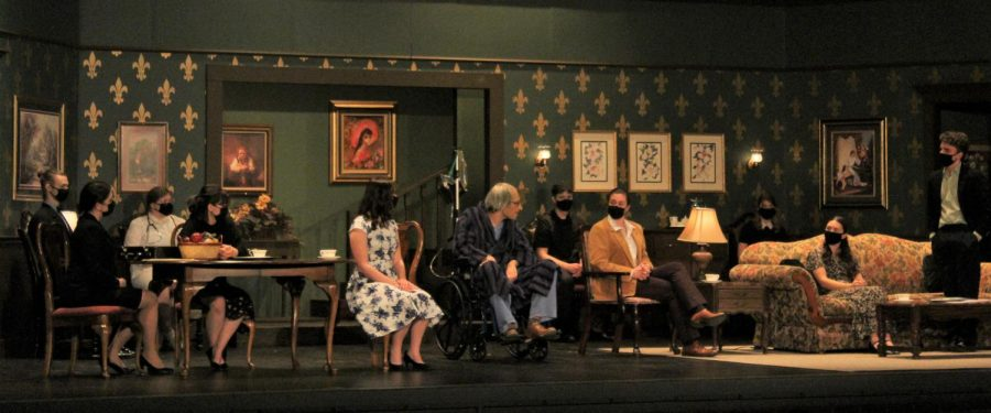 This years Spring Play had a relatively small cast of only fourteen people. In this scene you can see the majority of them gather in the living room for Simon Starkweathers big announcement.