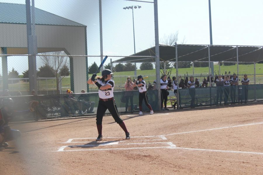 Junior Sydney Fagan waits at the plate for a pitched to be thrown during the first home game of the season against Dodge City.