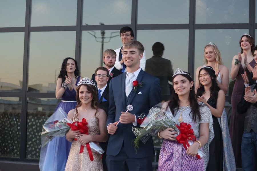 From left to right, Maggie Robben, Dalyn Schwarz and Alisara Arial pose for a picture. Prom Royalty was announced on April 10 at the Hilton Garden Inn.