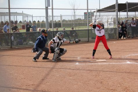 Junior Sydney Fagan waits for the pitch to be throw over the plate during the home game against Liberal on April 23.