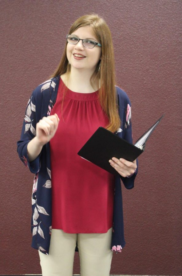 Sophomore Devlyn Jochum recites her pros piece for the state competitions. Jochum prefomed a piece by L.M. Montgomery's 'Anne of Green Gables.