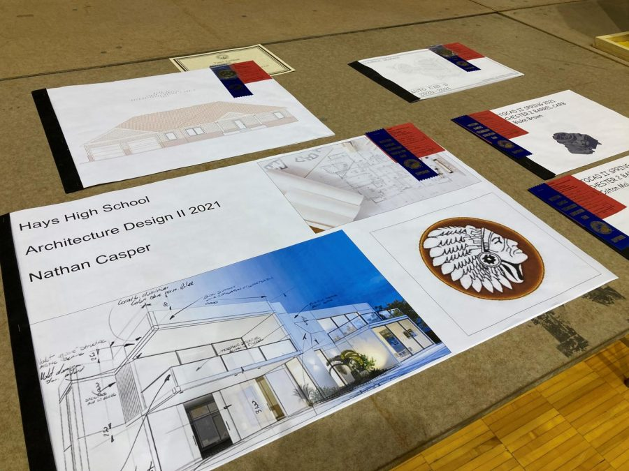 Computer-aided drafting (CAD) drawings are displayed to the public at Gross Memorial Coliseum.