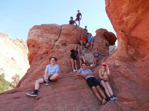 Orchestra students rock climb at Garden of the Gods in Denver, Colorado on Sept. 18.