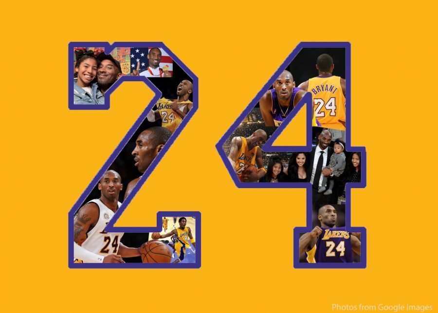 This collage contains images of Kobe Bryant, bordered by the number 24, his jersey number.