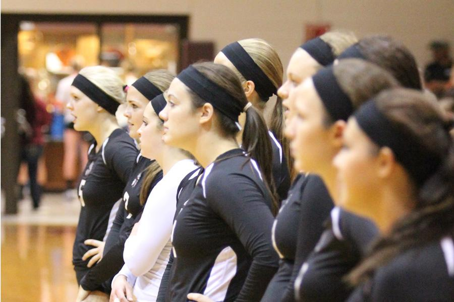 The Indians line up before their game in the Hays gym on Sept. 16.