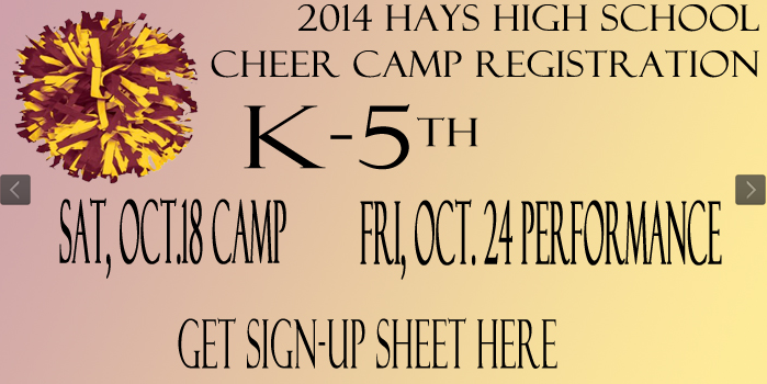 Youth cheer camp will be on Oct. 18