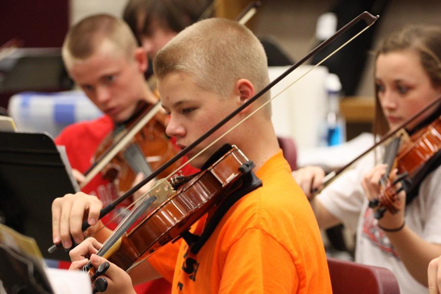 Freshman Brendan Chapman plays in orchestra.