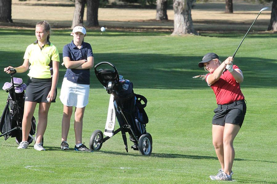 Junior Breanna Park takes a shot at recent action.