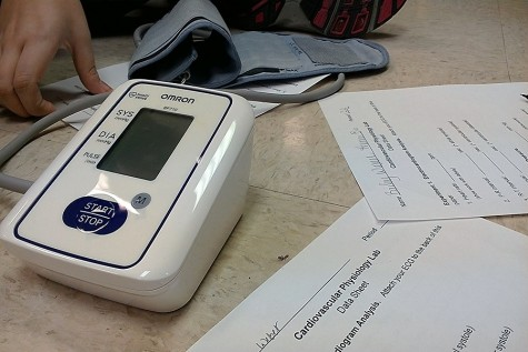 Human Biology class tests blood pressure
