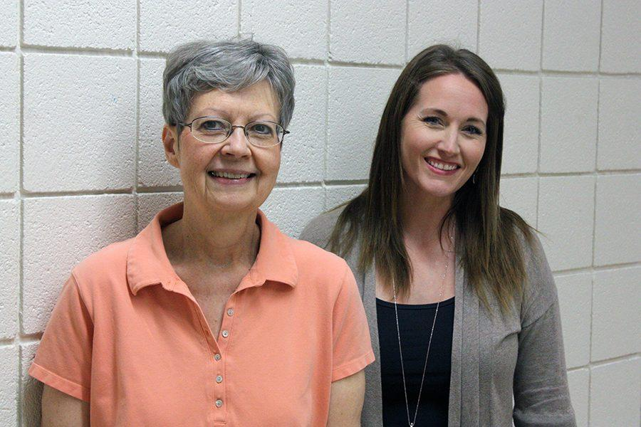 Supporting staff members Lexie Robinson and Misty Garrison each help out with student activities.