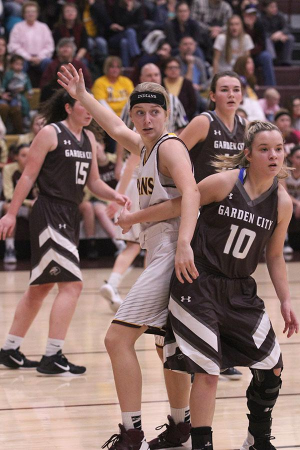 Freshman Isabel Robben opens up and calls for the ball during the game the Indians won against the Garden City Buffalos on Jan. 13.