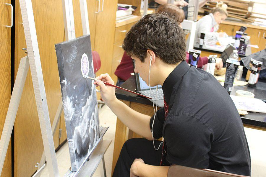 Tanner Callis working on one of his latest pieces.