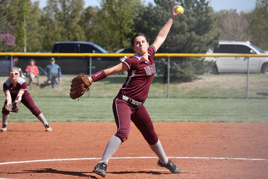 Sophomore Kaitlyn Brown pitches at a home game last season.