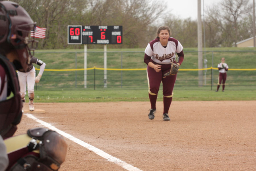 Sophomore third baseman Shyann Schumacher waits to field the ball in a recent game against the Garden City Buffalos. On April 18, the Indians beat the Colby Eagles at home.