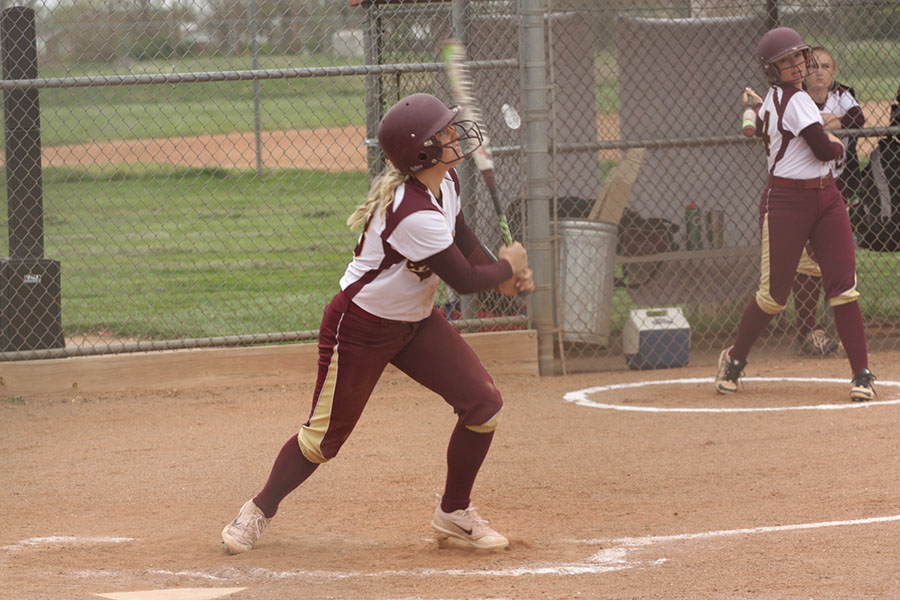 Freshman Macee Altman hits off the Garden City pitcher in the home game against the Buffaloes on April 25.