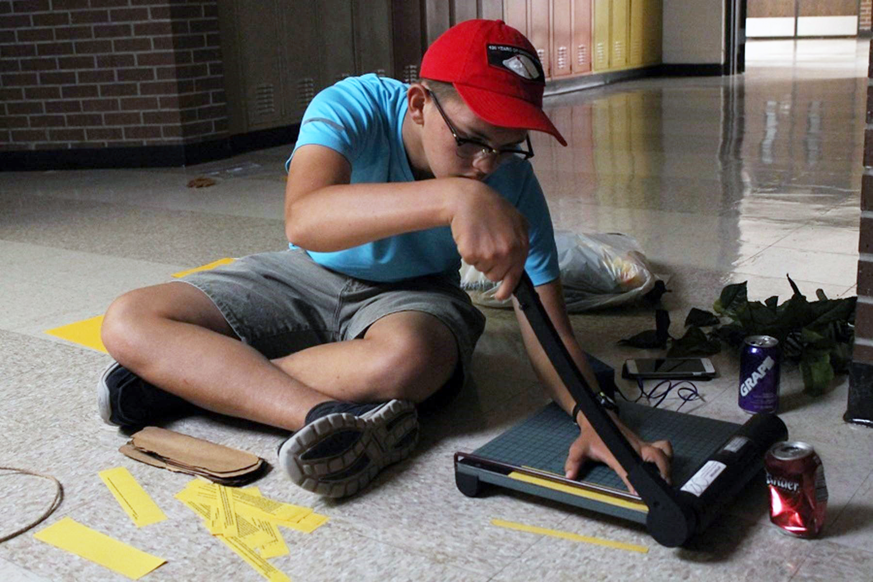 Sophomore Scout Perryman works on a project for StuCo.