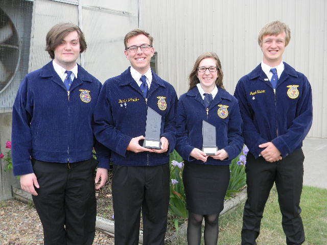 Juniors+Elijah+Joy%2C+Dusty+Schneider%2C+Jared+Kisner+and+Brandi+Zimmerman+participated+in+the+National+Homesite+and+Land+Judging+competition.+The+event+was+held+in+Oklahoma+City.