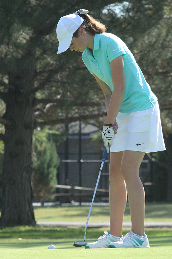 Junior Emily McGuire tied for 7th place in Salina South on Monday, Sept 19.