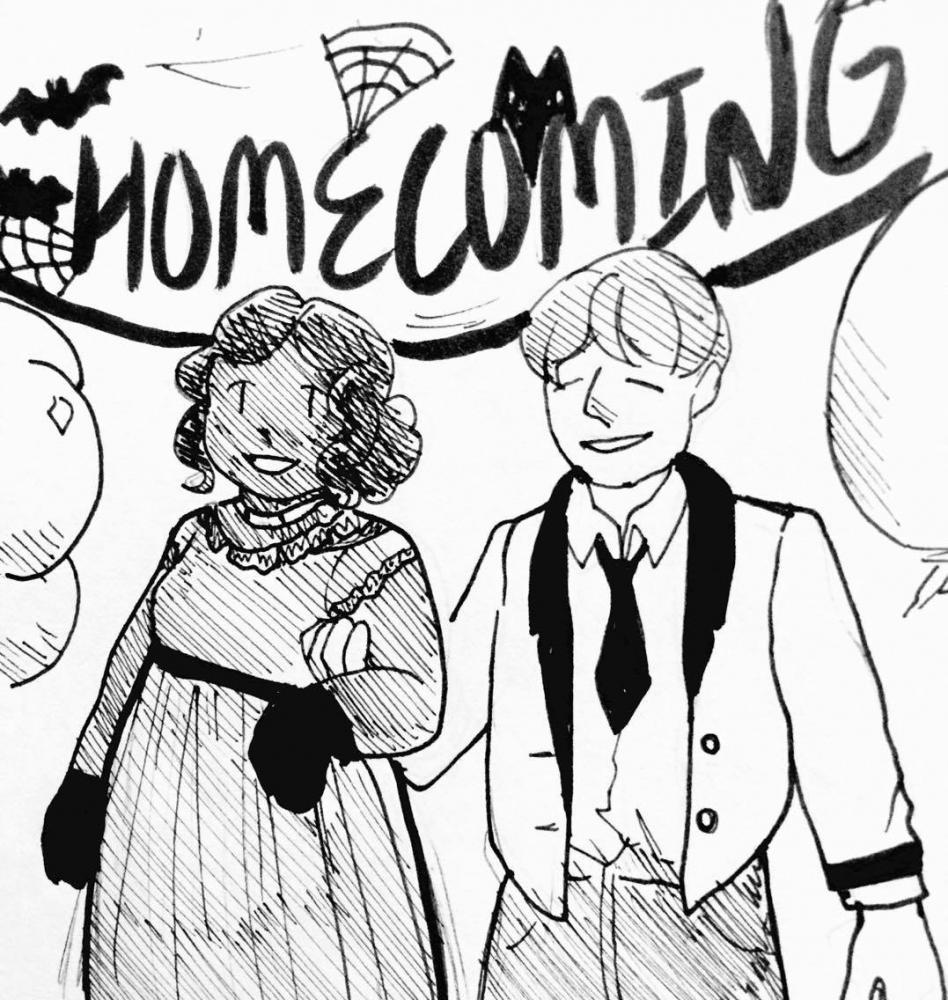 Drawing of a date at homecoming by Elizabeth Lee