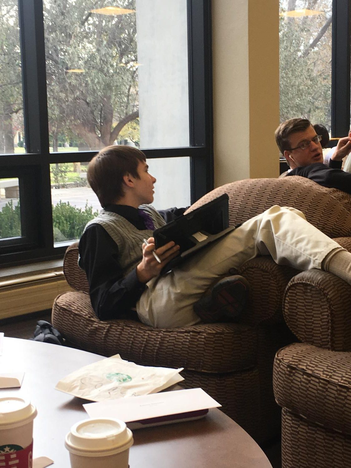 Senior Dawson Rooney discusses one of the practice problems with senior Zach Wagoner on Nov. 9. Rooney and Wagoner took 4th in algebraic manipulations with senior Lisa Schoenberger.