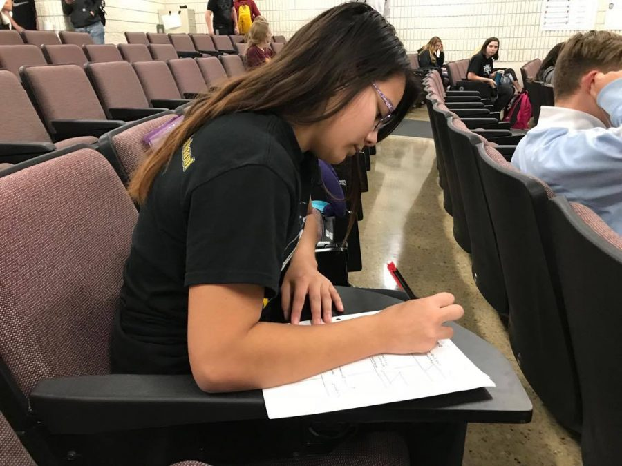 Freshman Ashley Vilaysing finishes her math homework in GPS.