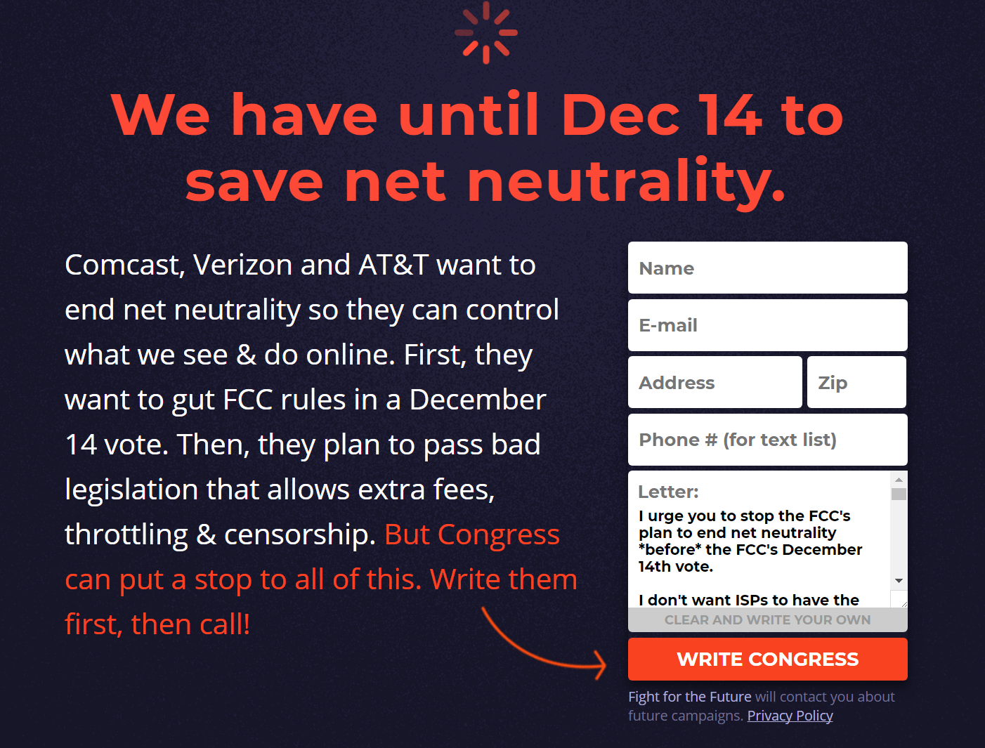 You can visit www.battleforthenet.com any time before Dec. 14 to petition Congress to keep net neutrality protection laws in place.
