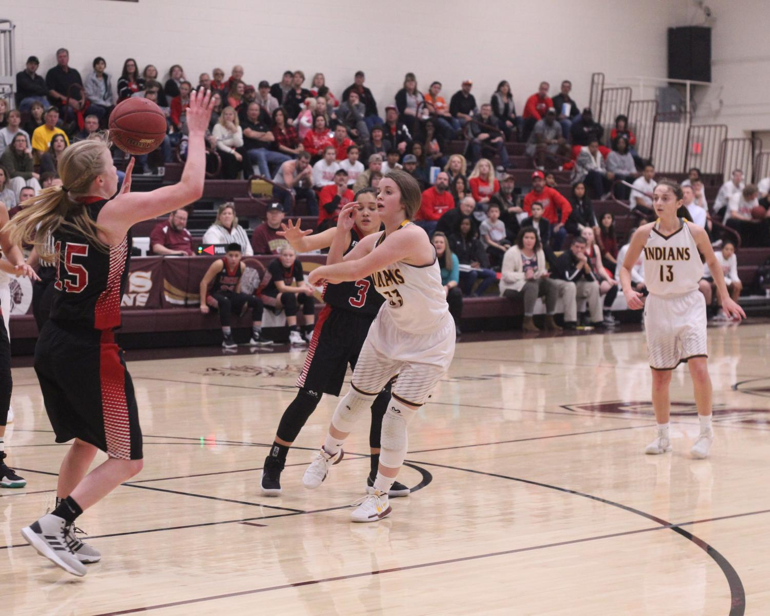 Sophmore Brooke Denning goes up for a lay up in a recent game against the Liberal Redskins. The Indians would go on to beat the Redskins 48-41.