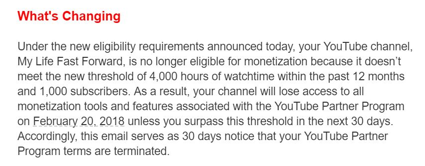 YouTubers+affected+by+the+YouTube+Partner+Program+changes+received+an+email+similar+to+this+one+on+Jan.+17.