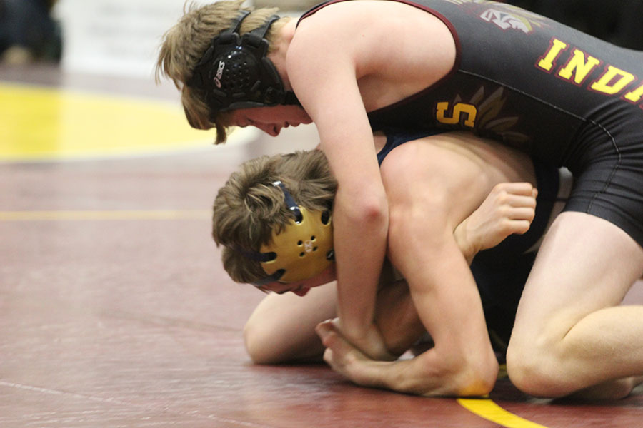 Senior Cory Hale wrestling at the Bob Kuhn Prairie Classic. The Indian wrestling team's next action will be Jan. 3 at Liberal for the Liberal Dual.