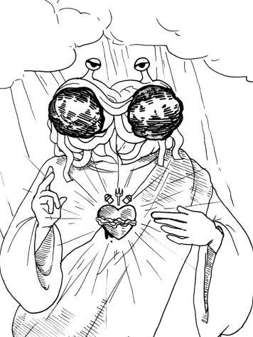 Student worships Flying Spaghetti Monster