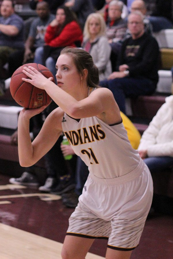 Junior Savannah Schneider looks for a shot in a recent game against the Liberal Redskins. The lady indians went 0-3 at the McPherson tournament Jan. 25-27.