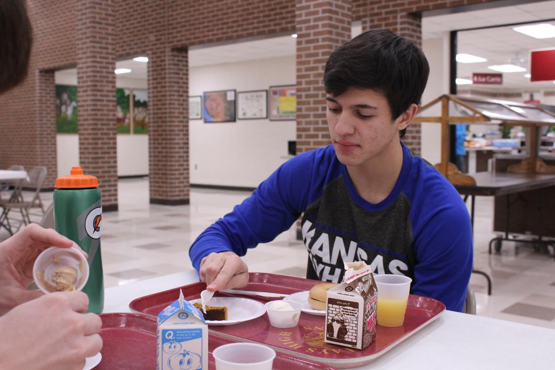 Senior Reese  Lovell eats breakfast before school.