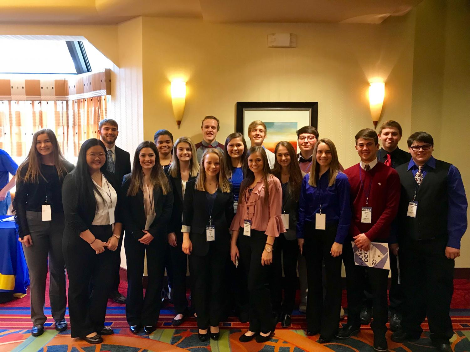 19 DECA members competed at the state conference. Members prepared for months in advance, writing papers and preparing presentations to earn their way to nationals.