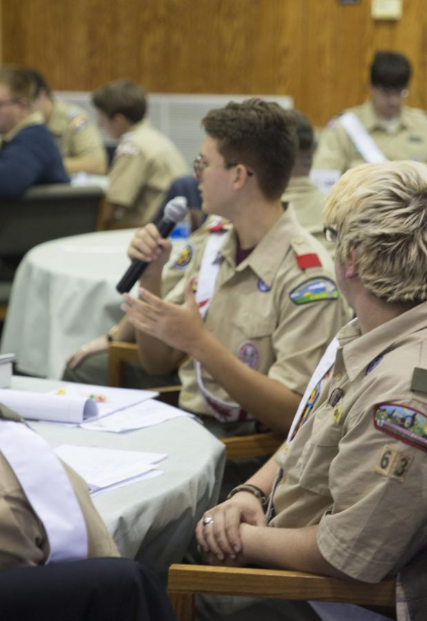 Junior Scout Perryman speaks at a Boy Scout conference in Ohio.