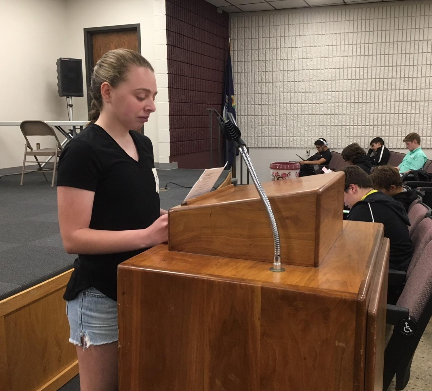 Freshman Anna Brull discusses why she wants to be a StuCo officer at the May 1 StuCo meeting. Eliana Buller, Allison Shubert, Ginny Ke, Kassidy Winter and Alicia Feyerherm also tried out for the sophomore officer positions. Kassidy Winter was elected as sophomore class president and Alicia Feyerherm was elected as sophomore class vice-president.