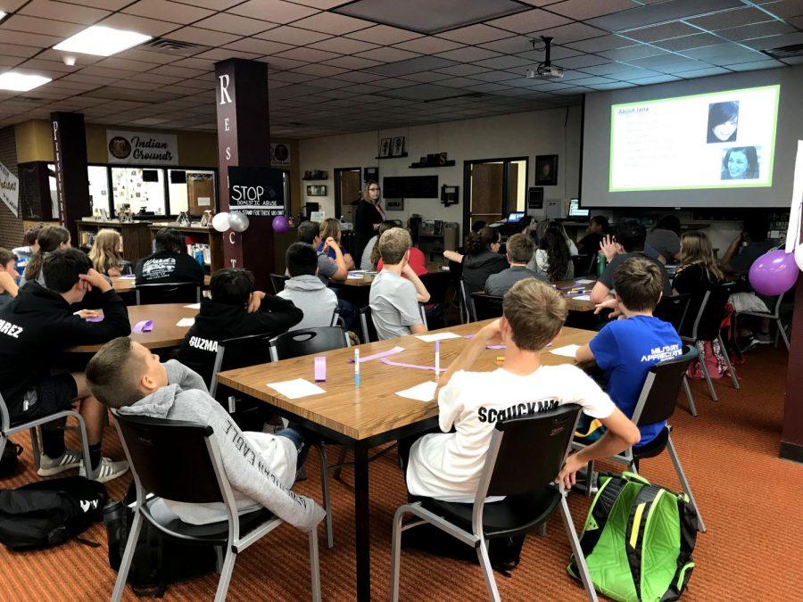 Freshmen listen to presentation given by Jana's Campaign