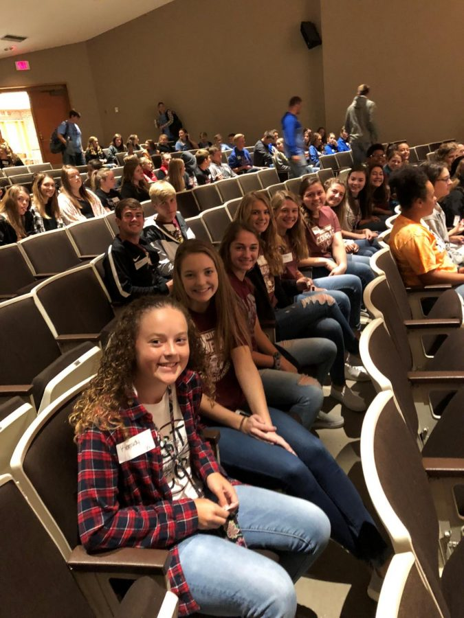 Stuco class officers and executive officers smile for the picture. Around 10 schools attended the conference. Fifteen students from Hays High attended.