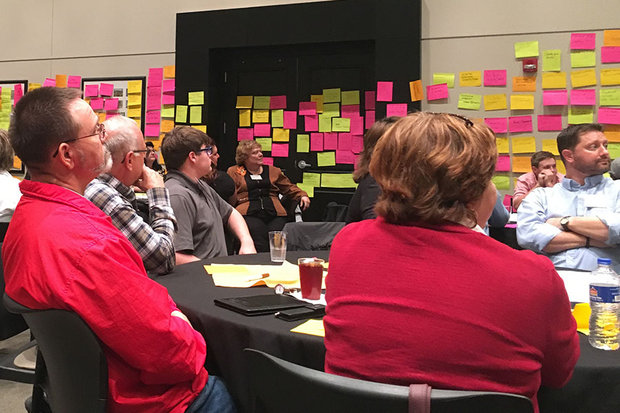 Community members meet in hopes to improve county during strategic doing in 2017.